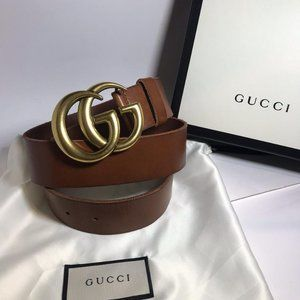 """Gucci Brown Leather 1.5"""" GG Marmont"""